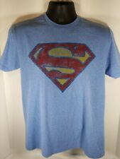 DC Comics Superman size M Distressed Logo Light Blue Cotton Blend T-Shirt