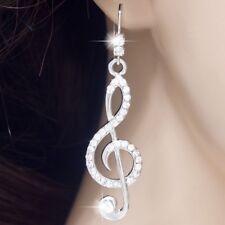 #E520A 5.5cm Long PIERCED Hook Dangle Treble Clef Music Note Crystal EARRINGS