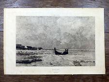 MARINE Gravure à l'eau-forte de CHARLES GIROUX d'ap. ANTOINE GUILLEMET Barbizon