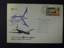 JERSEY-ROUSSEAU AVIATION FIRST FLIGHT JERSEY-BREST 12/06/1971 1st FLIGHT COVER
