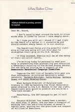 Hillary Clinton 1998 Fund-raising Letter Original w/Envelope