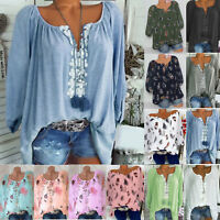 Plus Size Women Boho Long Sleeve Blouse Baggy Tops Ladies V Neck T Shirt Autumn