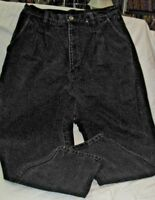 """Bill Blass Relaxed Fit Black Jeans Size 12 Petite Preshrunk 30"""" Waist Stretched"""
