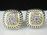 David Yurman Earrings Pave Diamond Albion Cable 925 Silver 750 18K  Fine .50ctw