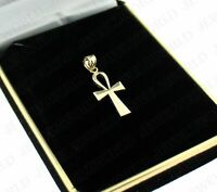 Real 10K Yellow Gold Egyptian Ankh Cross Pendant Diamond Cut Cross Charm