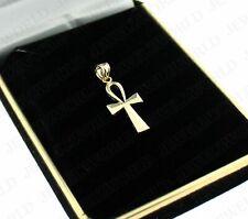 Real 10K Yellow Gold Egyptian Ankh Cross Pendant Diamond Cut Cross Charm