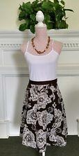 Talbots Petites 4P 100% cotton 6-gore flared skirt Renaissance print brown