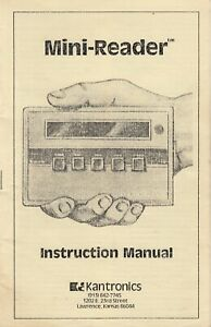 Kantronics   Morse Code Mini Reader Terminal  - Instruction Manual