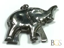 Patina! Vintage Ladies Sterling Silver Elephant Necklace Pendant - A Must See!