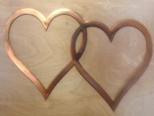 2 Hearts Wall Art Hanging in Rustic Copper Patina