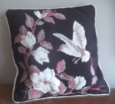 VTG mid century mod BROWN BIRD FLORAL accent throw NEEDLEPOINT PILLOW rose