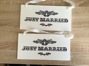 Brand New x2 Just Married Wooden Hanging Signs