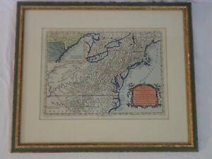 ANTIQUE 1700's MAP OF NORTH AMERICA COURSE OF OHIO RIVER NY PA NJ MD VA NC SC GA