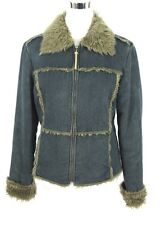 Esprit Outerwear Jean Jacket S Womens Denim Coat Faux Fur Zipper Front