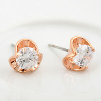 Lady's 18K Rose Gold Plated 6MM SIMULATED DIAMOND Stud Earrings Stunning Gift