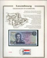 Luxembourg 20 Francs 1966 P 54a UNC w/FDI UN FLAG STAMP Prefix J