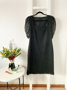 CARLA ZAMPATTI black mesh lace rosette pencil dress / sz 14