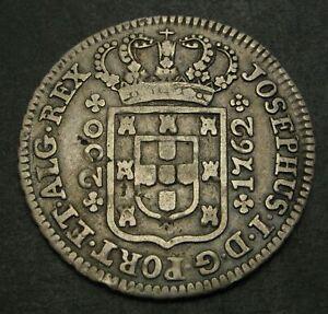 PORTUGAL 200 Reis 1762 - Silver - Jose I. - F/VF - 1535