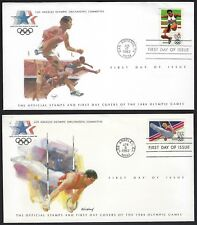 US 1983 COLLECTION OF 14 LOS ANGLOS OLYMPIC GAMES ISSUES ON 14 FDC ALL W/ COLORF