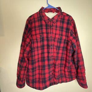 LL BEAN Flannel Jacket Sherpa Fleece Lined Buffalo Plaid Jacket XL