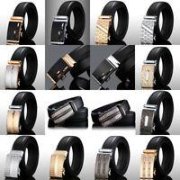 Luxury Men's Leather Waistband Automatic Waist Belt Strap Girdle Smooth Buckle