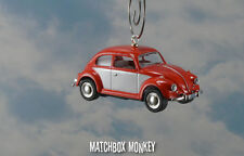 '67 Classic Red Two Tone Volkswagen Beetle Christmas Ornament VW Bug Herbie 1/64