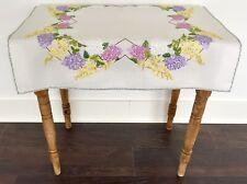 More details for vintage hand embroidered linen tablecloth lilacs & laburnum garden flowers
