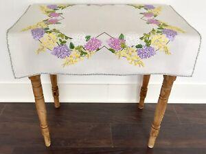 Vintage Hand Embroidered Linen Tablecloth Lilacs & Laburnum Garden Flowers