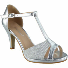 Womens Peeptoe Sandals HEELS Ladies Wedding Bridesmaid Bridal Party Shoes  Sizes Silver UK 4   EU 227888553a1f