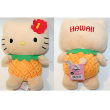 NEW Hello Kitty HAWAII Pineapple Girl Plush DOLL Red Flower in Hair Toy San Rio