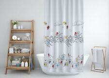 Extra Long White Shower Curtain Bird Pattened Quality Polyester Fabric 180x200cm