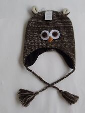 KGG Brown Knit OWL FACE POM-POM Hat