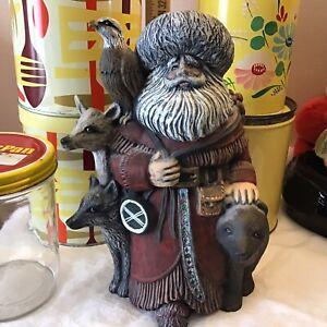 Woodland Santa w/ Deer Wolf Hawk Nordic Ceramic Beard Fluffy Hat