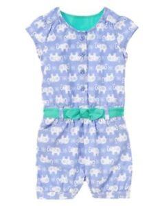NWT Gymboree Elephant Romper 6 12 18mo Safari Smiles Toddler Girl Baby