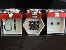 Crystal Ring and 2 Matching Pair Pierced Earrings Jewelry Set NIB