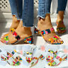 Womens Casual Candy Mixed Colors Applique Chunky Heels Sandals Fashion Slippers