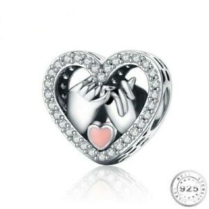 💖 Holding Hands Heart Charm Genuine 925 Sterling Silver Wife Girlfriend Mum 💖
