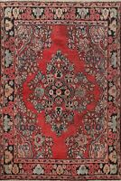 Antique Floral Traditional Area Rug Hand-Knotted Oriental Red Wool Carpet 5x6