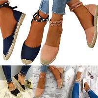 Womens Peep Toe Espadrilles Sandals Rivets Ankle Strap Buckle Causal Flats Shoes