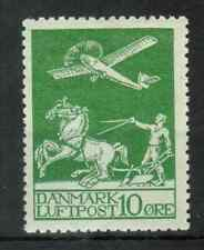 Denmark - 1925 Airmail Stamp (10Ore green) Mint Very Lightly Hinged, 352