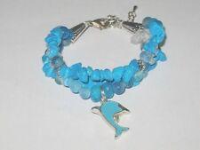 "Beautiful unique 3 strand TURQUOISE, AGATE & QUARTZ ""DOLPHIN"" bracelet ...adjust"