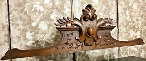 Scroll leaves shield wood carving pediment Antique french architectural salvage