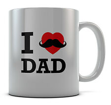 I Love Dad Mustache Mug Cup Present Gift Coffee Birthday