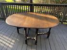 Antique Solid Oak Drop Leaf Dining Table Restored