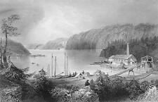 CANADA St. John River Indian Town - Steel Engraving Print