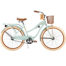 """24"""" Huffy Women's Nel Lusso Cruiser Bike Mint Wire Basket and Rear Rack 1-Speed"""