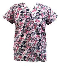 Women's Fashion Medical Nursing Scrub Tops Breast Cancer Flower Ribbon S