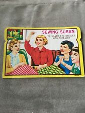 Vintage Sewing Susan Needles 10 Silver Eye Needles With Threader