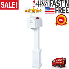 Mailbox Post Kit Classic Style 4in. x 4in. Mount Rust Proof Dent-Resistant White