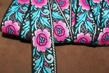 """embroidered woven jacquard tapestry ribbon, 1"""" wide, purchase by the yard."""